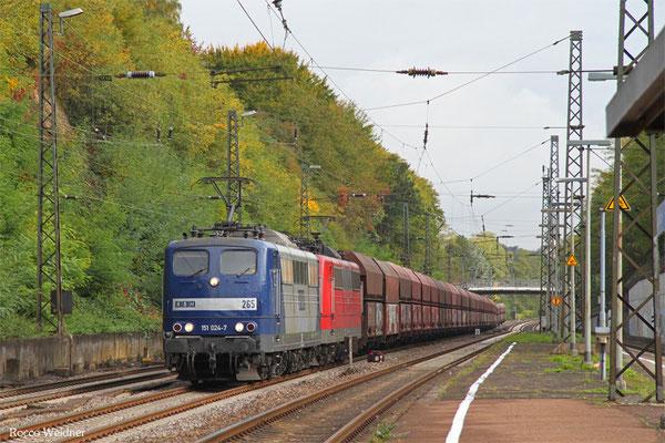 DT 151 024 + 151 083 GM 60486 Neunkirchen(Saar) Hbf - Oberhausen West Orm, Jägersfreude 08.10.2015