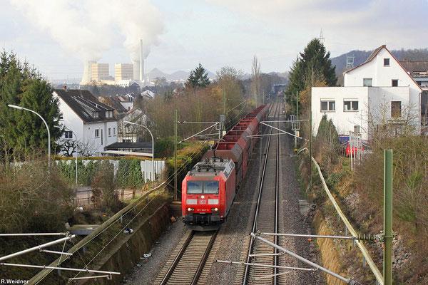 185 048 mit GM 62841 Dillingen Hochofen Hütte - Karlsruhe Rheinbrücke Raffinerie am 24.01.14 in Luisenthal (Sdl.leere Fal)