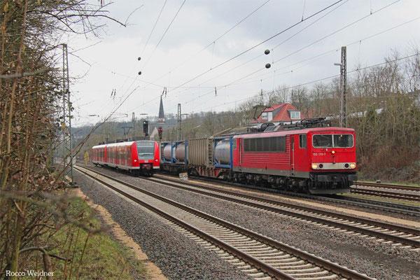155 178 mit KT 50763 Saarbrücken Rbf Nord - Ludwigshafen BASF Ubf (Sdl.KV), Dudweiler 11.02.2016