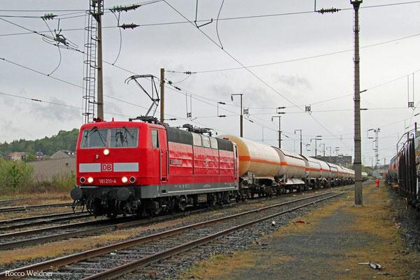 181 211 mit GC 62190 Forbach/F - Saarbrücken Rbf Nord (Sdl.leere EKW, zweiter Teil für GC 48987 nach Beograd/SRB ), Forbach 30.05.2015