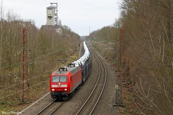145 007 mit GA 62400 Saarbrücken Rbf West - Saarbrücken Rbf West (Sdl. PKW - Drehfahrt), Fischbach-Camphausen 01.02.2016