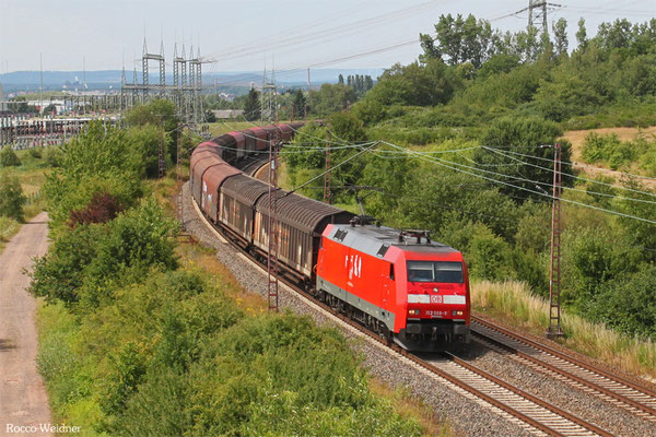 152 008 mit GM 62392 Beddingen - Saarbrücken Rbf Nord (Sdl. leere Rsy), Ensdorf 28.06.2015