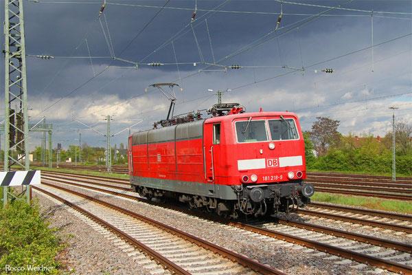 181 218 als T 67943 Mannheim Rbf Gr.M - Saarbrücken Hbf (Sdl.), Neistadt(W) 27.04.2016