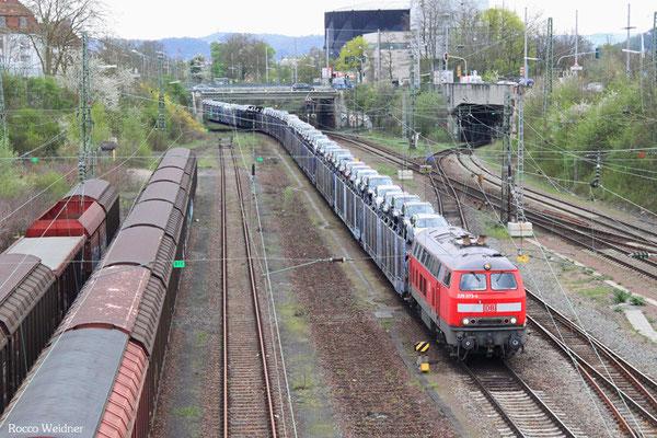 225 073 mit GA 62416 Saarbrücken Rbf Nord - Dillingen/Ford (Sdl. bel. Autowagen), Saarbrücken Burbach 18.04.2016