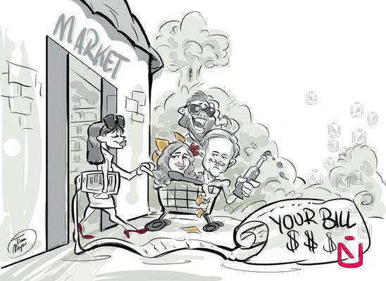 Cartoon zu Digitalisierung beim Shoppen