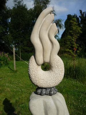 >Meerweib - geschmückt<, Elbsandstein, 2011, H 160 cm