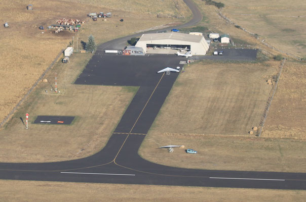microlight view of french aerordrome in auvergne