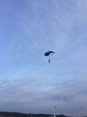 parachutist in the air