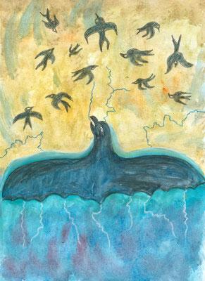 Der mächtige Donnervogel findet sich bei einigen Indianerstämmen aufgemalt auf den Trommeln der Indianer