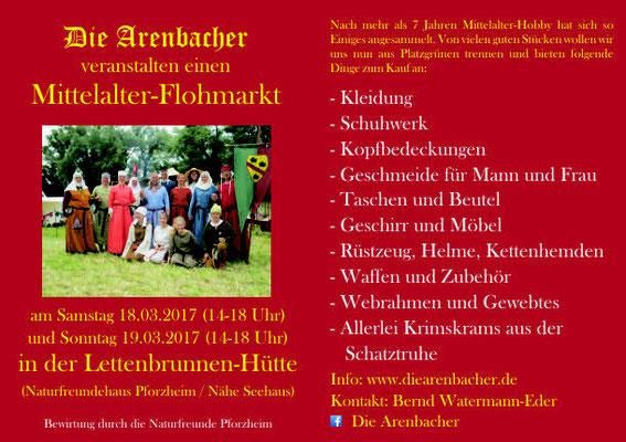Ja und dann hoffentlich bis nächstes Jahr, wenn es wieder heißt: Workshop und Mittelalterflohmarkt der Arenbacher 2018