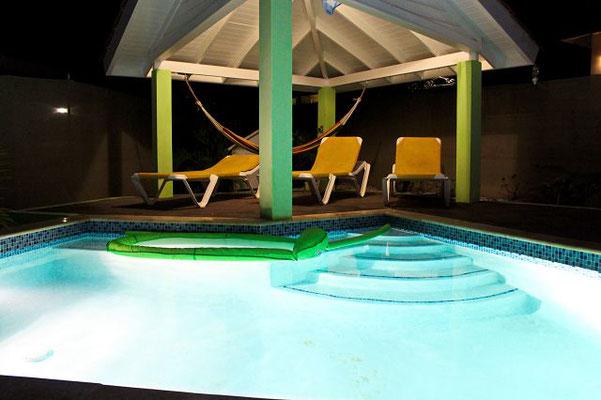 Pool-nacht-Ferienhaus-CAS-IGUANA-Urlaub-Curacao-Karibik-Villapark-Fontein