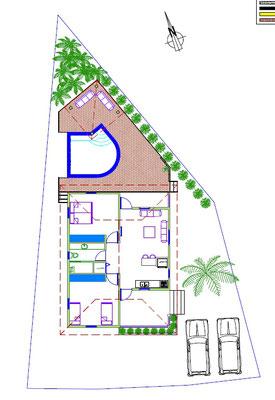 grundriss-Ferienhaus-CAS-IGUANA-Urlaub-Curacao-Karibik-Villapark-Fontein