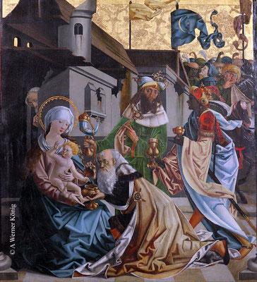 Bild aus dem Flügelaltar von Mariapfarr - Dieses Bild dürfte Joseph Mohr als Anregung zum Stille Nacht Lied gedient haben (...holder Knabe im lockigen Haar...)