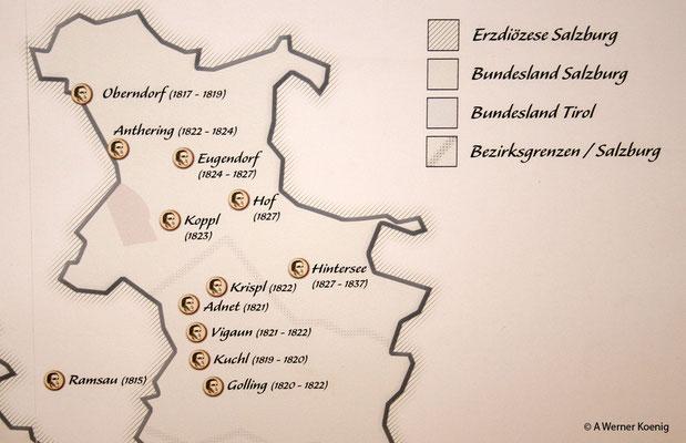 Mariapfarr: Landkarte im Stille Nachtmuseum mit den Einsatzorten von Joseph Mohr. Es fehlen aber die Dienststellen Mariapfarr und Wagrain.