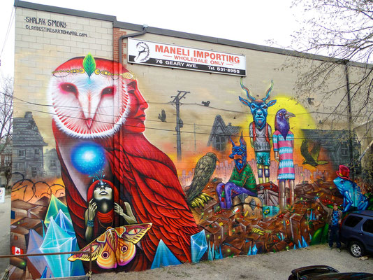 """""""Diamonds of Extinction"""" by the Clandestinos (Shalak & Smoky), 20ft x 55ft, 76 Geary Ave, Toronto, Canada, Spring 2014."""