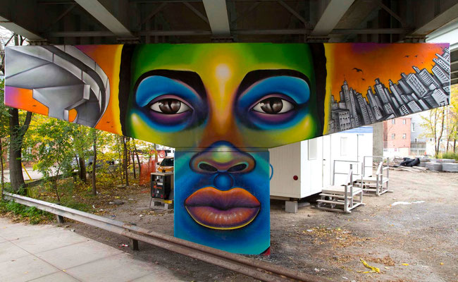 """""""THE FUTURE"""" from the Mural Series """"Frozen Memories"""": King St.E/Adelaide Underpass, Toronto, Canada.  Lead Artist & Project Director: Shalak Attack  Artistic Collaborator: Brunosmoky  Project Assistant: Fiya Bruxa  Photo/video: Yas Parodi  Oct 2014"""