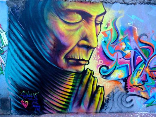 """""""Prayer""""  Graffiti by Shalak, Meeting of Favela, Rio de Janeiro, Brazil.  Nov 2011"""