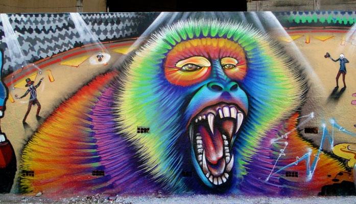 """Mad Circus Monkey""  Detail of mural by Shalak. Brasilandia, Sao Paulo, Brazil. 2013"