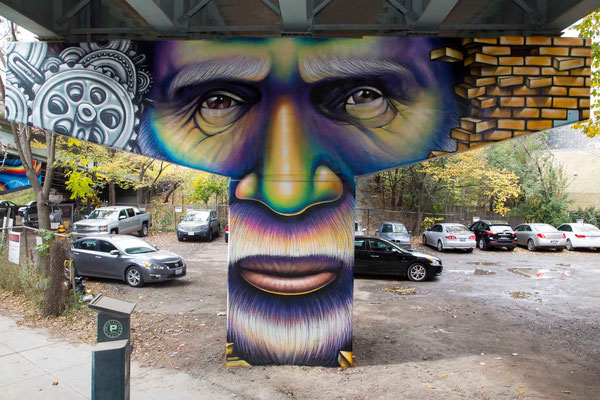 """""""THE WORKER"""" from the Mural Series """"Frozen Memories"""": King St.E/Adelaide Underpass, Toronto, Canada.  Lead Artist & Project Director: Shalak Attack  Artistic Collaborator: Brunosmoky  Project Assistant: Fiya Bruxa  Photo/video: Yas Parodi  Oct 2014"""