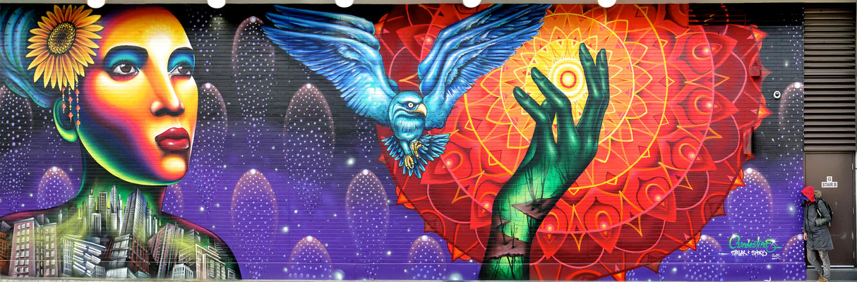 Finding The Light  By Clandestinos Art, Toronto Community Housing, CA Acrylic Base, Spray Paint, Anti-Graffiti Varnish 5 meters x 12 meters 2015