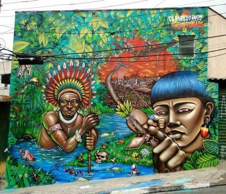 """""""The Earth does not belong to us, We belong to the Earth"""", By the Clandestinos (Shalak and Smoky), 20ft x 22ft, Brasilandia, Sao Paulo, 2012."""