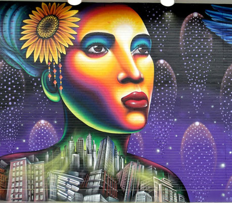 Regent Park Community Mural Detail. Celebrating the past and the future of the community and personifying its history with the themes of hope, strength, unity, multiculturalism, nature and city.