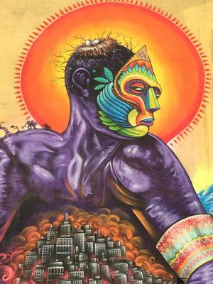 """Enmascarado"" Detail, Artscape Mural Festival, Malmö, Sweden, By: Shalak Attack, Bruno Smoky, Fiya Bruxa, Amara Por Dios. May 2014"