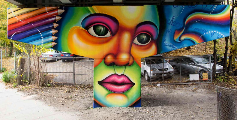 """""""THE POSSIBILITY"""" from the Mural Series """"Frozen Memories"""": King St.E/Adelaide Underpass, Toronto, Canada.  Lead Artist & Project Director: Shalak Attack  Artistic Collaborator: Brunosmoky  Project Assistant: Fiya Bruxa  Photo/video: Yas Parodi  Oct 2014"""