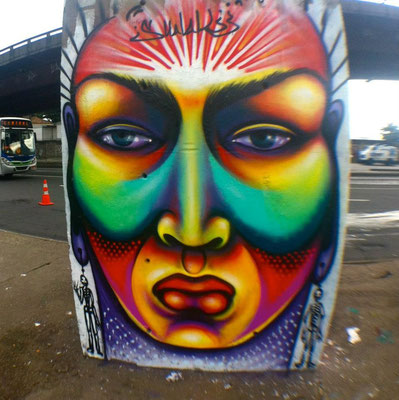 Freestyle graffiti by Shalak.  Rodoviaria, Rio de Janeiro, Brazil. 2012