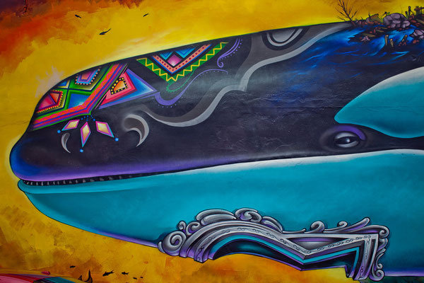 """""""Free Lolita"""" Detail. This Mural is in homage of Lolita, originally known as Tokitae, the Orca whale that is being held captive for over 45 years in one of the world's smallest killer whale aquariums at the Miami Seaquarium."""