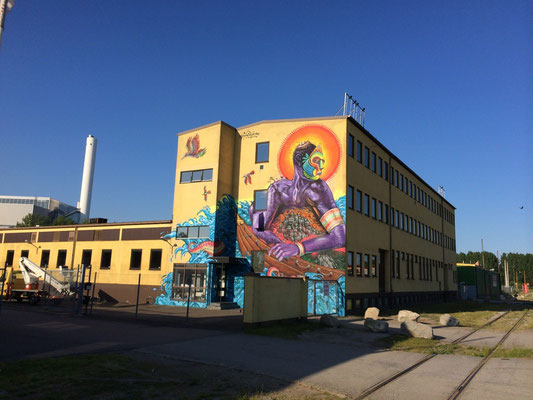"""Enmascarado"" Artscape Mural Festival, Malmö, Sweden. By: Shalak Attack, Bruno Smoky, Fiya Bruxa, Amara Por Dios. May 2014"