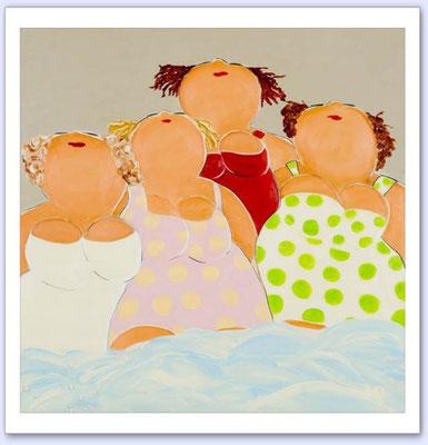 Madammekes aan zee 5 - Acrylic on canvas - 50x50