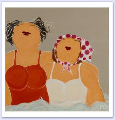De meisjes en de zee 3 - Acrylic on canvas - 80x80
