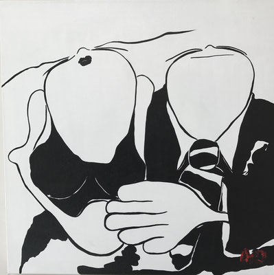 Noir sur blanc - Acryl - 50x50