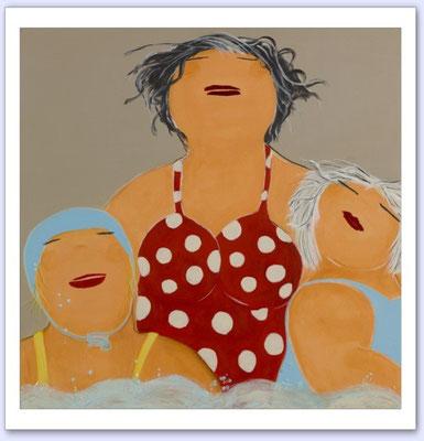 De meisjes en de zee 1 - Acrylic on canvas - 80x80