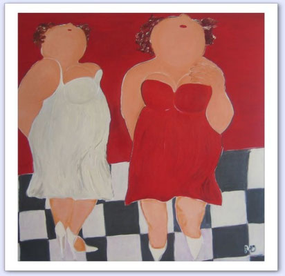 Madammen zien het anders - Acrylic on canvas - 100x100