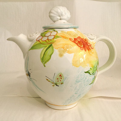 Large round teapot painted with our opale pattern.