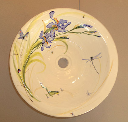 Bathroom basin to be flush fitted into table top, decorated with blue irises.
