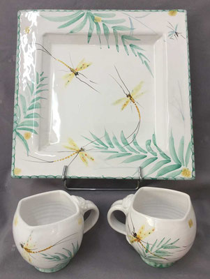 Square dish and square mugs in may fly pattern.