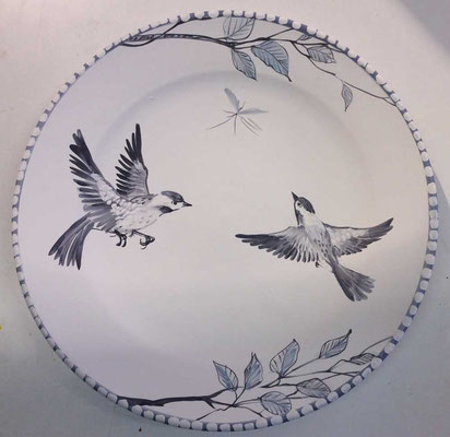 Black and white bird platter.