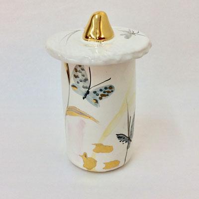 Petite boîte cylindre B. Décor gris, nacre et or.