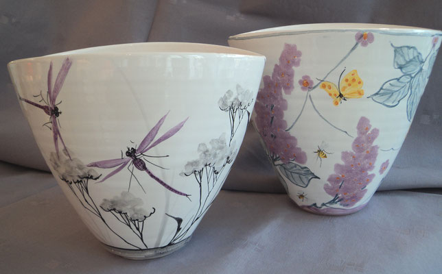 Oval plant pots.