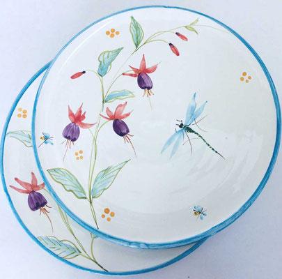 Presentation plates, Fuchsia decoration.