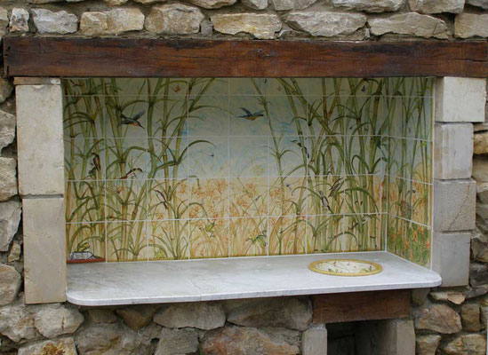 Outdoor kitchen, bamboo decoration with birds.