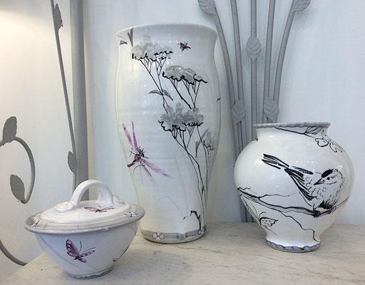Vases et petite boîte en décor nuage avec un oiseau qui passait par là!