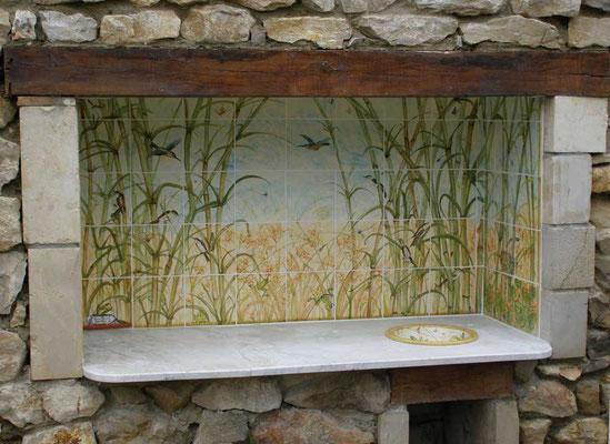 Cuisine extérieure, décor bambou.