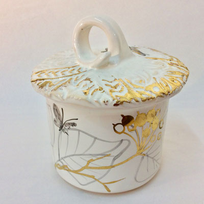 Straight sided box. Grey, pearl and gold decoration.