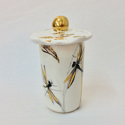 Petite boîte cylindre E. Décor gris, nacre et or.
