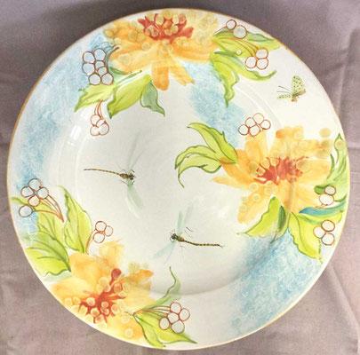 Grand plat de service, décor opale.