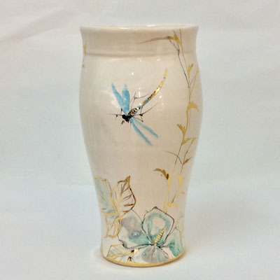 Oval necked vase .Grey-blue, pearl and gold decoration.